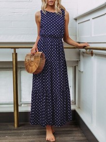 Sapphire Blue Polka Dot Print Draped Round Neck Sleeveless Maxi Dress