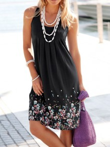 Black Floral Round Neck Casual Mini Dress
