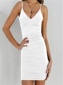 White Condole Belt Cut Out Round Neck Fashion Mini Dress