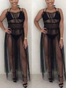 Black Grenadine Pleated Three Piece Spaghetti Strap High Waisted Sheer Trendy Clubwear Maxi Dress