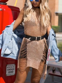 Rose Gold Cut Out Tassel Slit Ripped Destroyed Cover Up Sleeveless Mini Dress