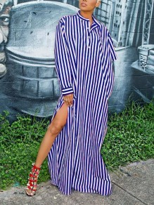 Blue-White Striped Buttons Pockets Slit Irregualr Draped Asymmetrical Sleeve Casual Maxi Dress