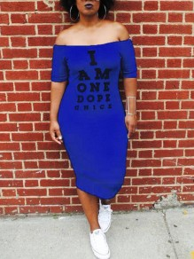 "Blue ""I AM ONE DOPE CHICK"" Print Off Shoulder Backless Bodycon Casual Maxi Dress"