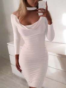 White Cut Out Round Neck Casual Mini Dress
