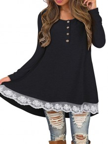 Black Patchwork Buttons Lace Round Neck Long Sleeve Casual Mini Dress