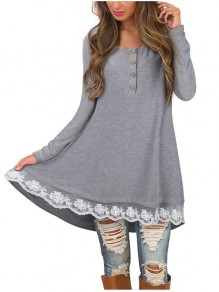 Grey Patchwork Buttons Lace Round Neck Long Sleeve Casual Mini Dress