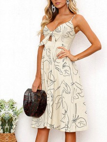 Apricot Floral Print Condole Belt Knot V-neck Casual Cute Beach Midi Dress