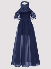 Navy Blue Patchwork Lace Ruffle Draped Halter Neck Backless Maxi Dress