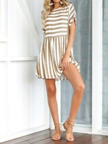 Coffee Striped Print Round Neck Short Sleeve Casual Mini Dress