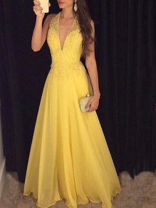 Yellow Patchwork Lace Grenadine Deep V-neck Draped Elegant Party Maxi Dress