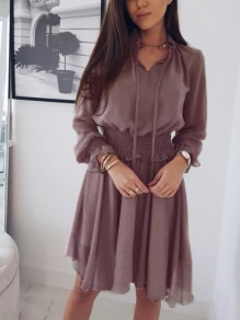 Purple Drawstring Ruffle Long Sleeve Midi Dress