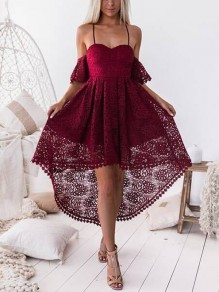 Red Lace Irregular Short Sleeve Casual Polyester Mini Dress