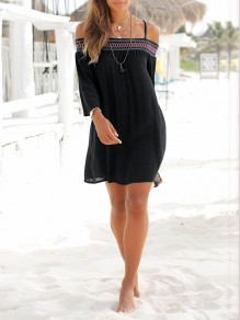 Black Patchwork Sashes Ruffle Boat Neck Fashion Mini Dress