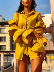 Yellow Single Breasted Cascading Ruffle Sashes Slit Cut Out Cute Casual Mini Dress