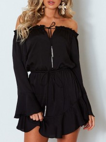 Black Bow Long Sleeve Boat Neck Sweet Going out Mini Dress