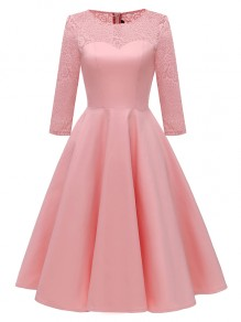 Pink Patchwork Lace Zipper Long Sleeve Party Midi Dress