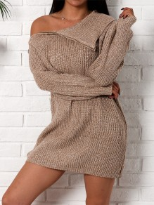 Coffee Irregular High Neck One Shoulder Fashion Knit Mini Dress