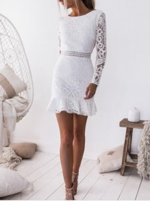White Lace Ruffle High Waisted Bodycon Long Sleeve Sweet Homecoming Party Mini Dress