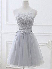 Grey Patchwork Draped Lace Backless Round Neck Fashion Wedding Bridesmaid Mini Dress