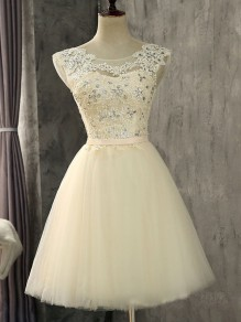 Champagne Patchwork Lace Pleated Rhinestone Round Neck Fashion Mini Dress