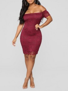 Maroon Floral Lace Off Shoulder Backless Bodycon Elegant Homecoming Party Mini Dress