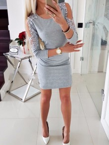 Grey Patchwork Cut Out Pearl Fashion Mini Dress