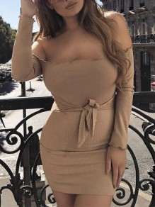 Khaki Off Shoulder Sashes Long Sleeve Bodycon Clubwear Party Mini Dress