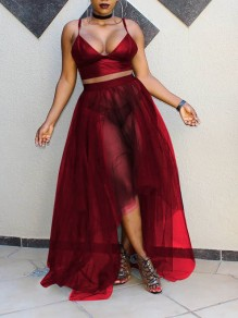 Burgundy Spaghetti Strap Deep V-neck Two Piece Grenadine Irregular Sheer Party Maxi Dress