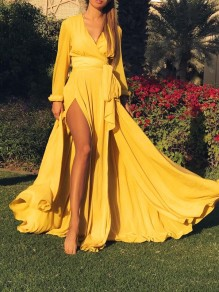 Yellow Belt Draped Thigh High Side Slits Deep V-neck Bohemian Beachwear Maxi Dress