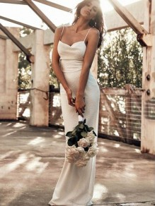 White Off Shoulder Lace-Up Slit Spaghetti Strap Bodycon Wedding Elegant Party Maxi Dress