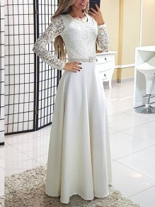 White Lace Draped Long Sleeve Wedding Gowns Prom Homecoming Party Elegant Maxi Dress