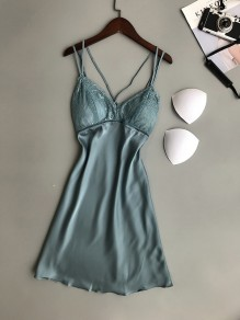 Light Blue Patchwork Lace V-neck Sweet Going out Mini Dress