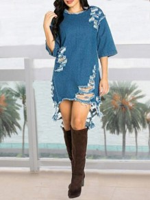 Blue Irregular Cut Out Denim High-Low Ripped Destroyed Elbow Sleeve Casual Mini Dress