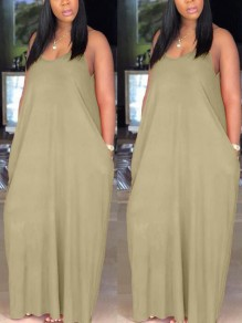 Beige Pockets Draped Spaghetti Strap V-Back Deep V-neck Casual Maxi Dress