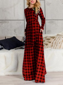 Red-Black Plaid Print Pockets Belt Plus Size Long Sleeve Oversized Casual Bohemian Maxi Dress