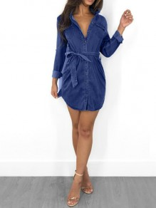 Deep Blue Sashes Single Breasted Pockets Turndown Collar Casual Denim Mini Dress