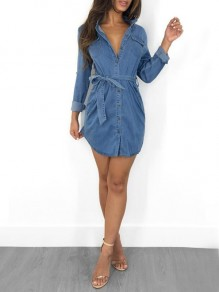 Light Blue Sashes Single Breasted Pockets Turndown Collar Casual Denim Mini Dress
