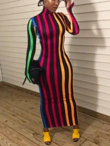 Black Rainbow Striped Bodycon Long Sleeve High Neck Party Maxi Dress