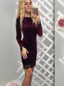 Wine Red Patchwork Lace Long Sleeve Party Midi Dress