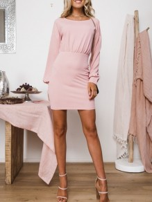 Pink Ruffle Round Neck Long Sleeve Fashion Mini Dress