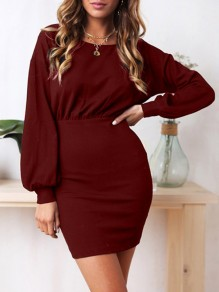 Wine Red Ruffle Round Neck Long Sleeve Fashion Mini Dress