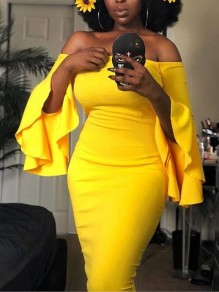 Yellow Off Shoulder Ruffle Bell Sleeve Bodycon Elegant Party Midi Dress