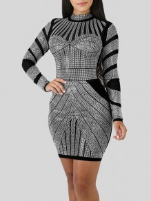 Black Rhinestone Bodycon Long Sleeve Round Neck Elegant Party Mini Dress
