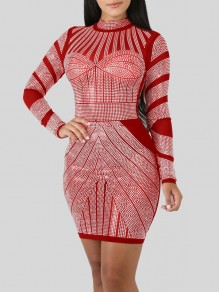 Red Rhinestone Bodycon Long Sleeve Round Neck Elegant Party Mini Dress