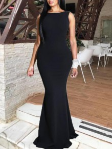 Black Irregular Ruffle Backless Bow Mermaid Elegant Prom Banquet Maxi Dress