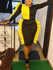 Black-Yellow Ruffle Belt Bodycon Long Sleeve Round Neck Elegant Party Midi Dress