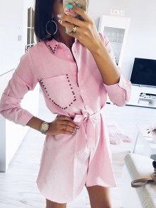 Pink Buttons Rivet Turndown Collar Going out Sweet Mini Dress