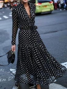 Black Polka Dot Draped Double Breasted V-neck Long Sleeve Fashion Maxi Dress