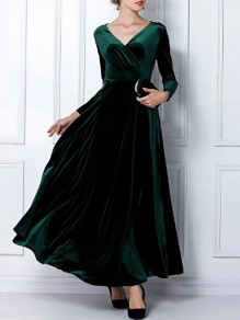 Dark green Pleated Pleuche Big Swing Long Sleeve V-neck Flowy Elegant Formal Banquet Maxi Dress