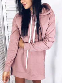 Pink Drawstring Hooded Side Slit Casual Mini Dress